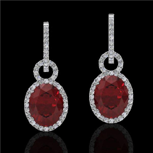 8 ctw Garnet & Micro Pave Halo VS/SI Diamond Earrings 14k White Gold - REF-100M2G