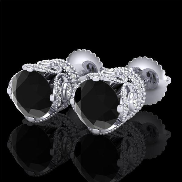 3 ctw Fancy Black Diamond Art Deco Stud Earrings 18k White Gold - REF-178X2A
