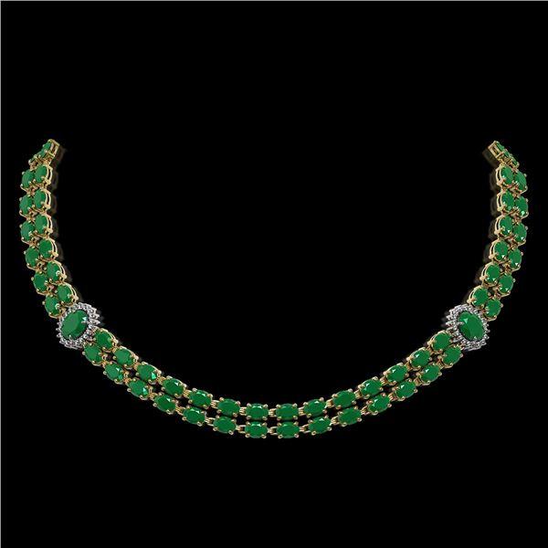 43.13 ctw Emerald & Diamond Necklace 14K Yellow Gold - REF-527Y3X