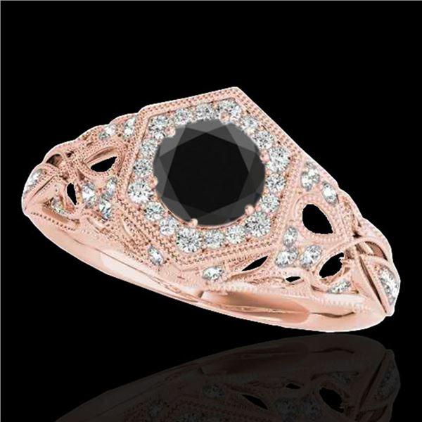 1.4 ctw Certified VS Black Diamond Solitaire Antique Ring 10k Rose Gold - REF-59W2H