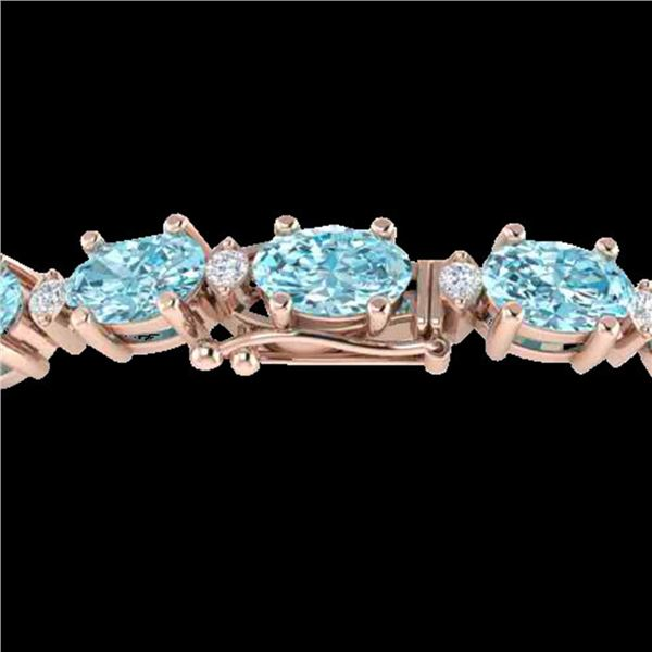 14 ctw Sky Blue Topaz & VS/SI Diamond Eternity Bracelet 10k Rose Gold - REF-80F2M