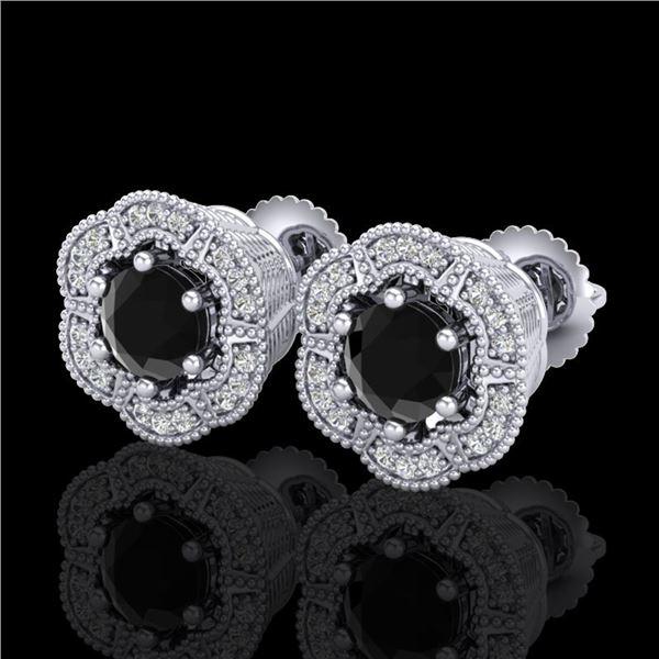 1.51 ctw Fancy Black Diamond Art Deco Stud Earrings 18k White Gold - REF-107Y3X