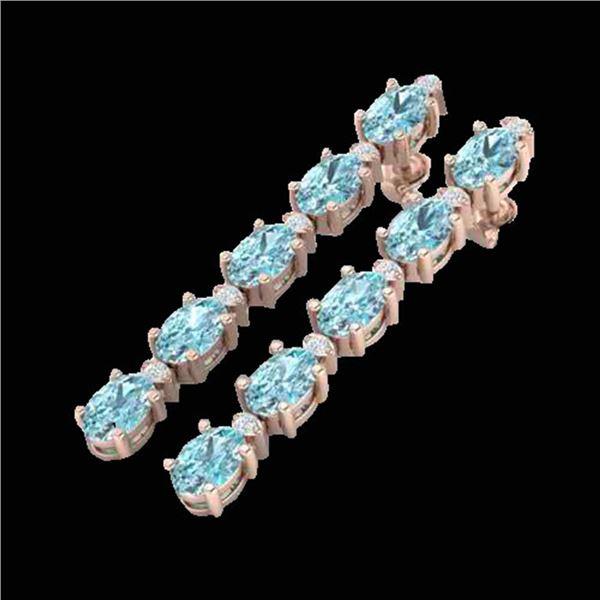 15.47 ctw Sky Blue Topaz & VS/SI Certified Diamond Earrings 10k Rose Gold - REF-81X8A