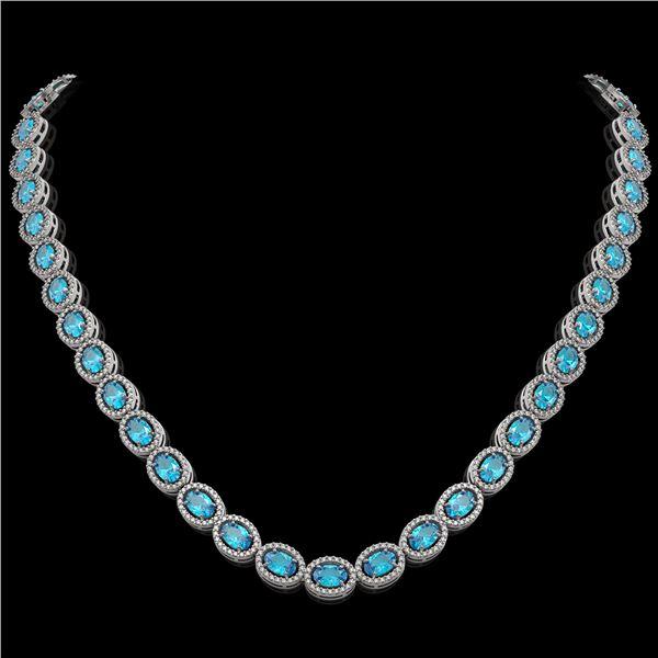 33.25 ctw Swiss Topaz & Diamond Micro Pave Halo Necklace 10k White Gold - REF-600H2R