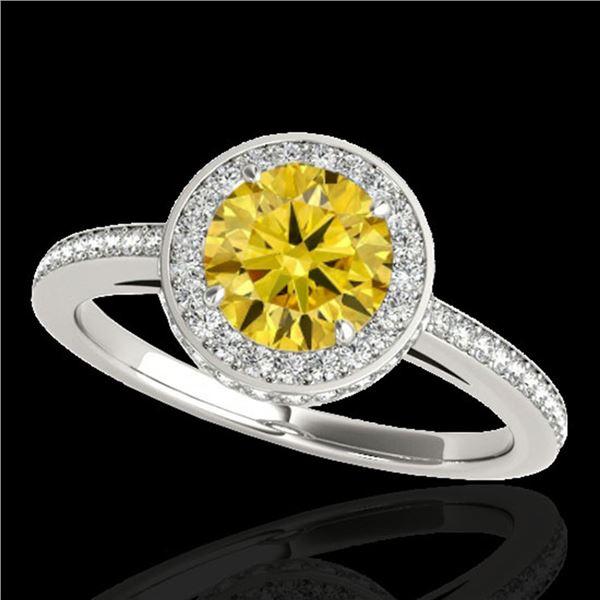 1.55 ctw Certified SI/I Fancy Intense Yellow Diamond Ring 10k White Gold - REF-197A8N