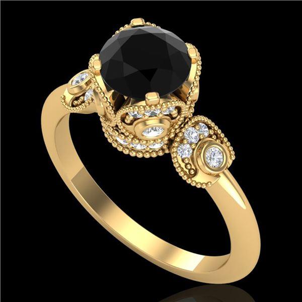 1.75 ctw Fancy Black Diamond Engagment Art Deco Ring 18k Yellow Gold - REF-134N5F
