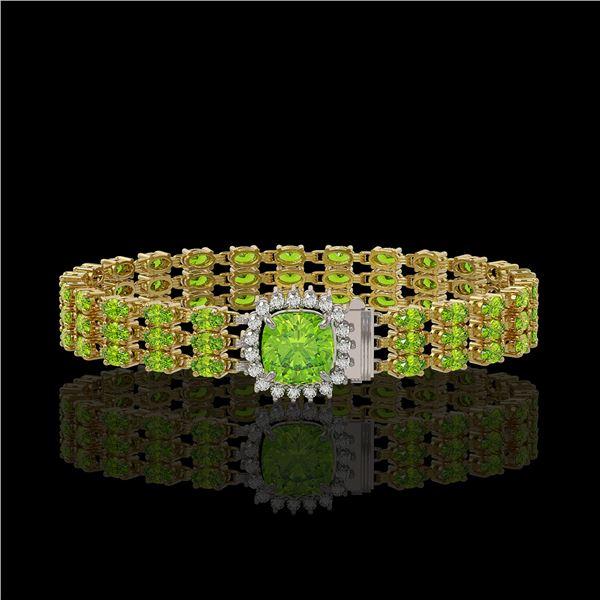 29.26 ctw Peridot & Diamond Bracelet 14K Yellow Gold - REF-281W8H