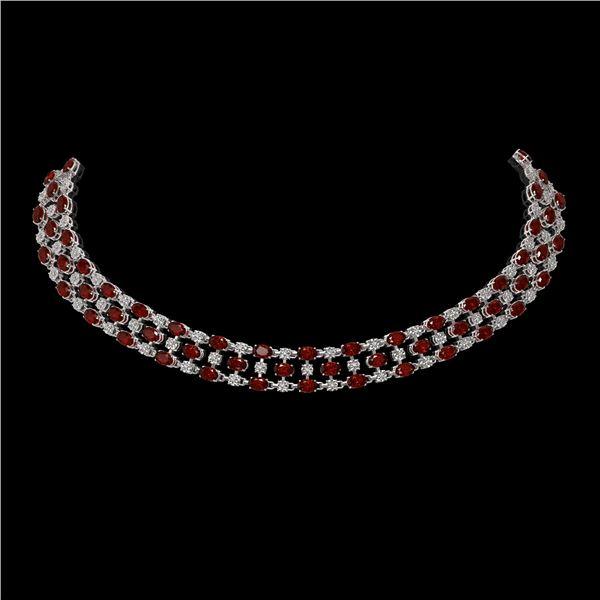 31.85 ctw Garnet & Diamond Necklace 10K White Gold - REF-427M3G