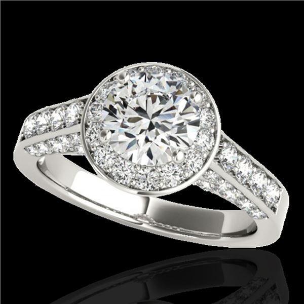 1.8 ctw Certified Diamond Solitaire Halo Ring 10k White Gold - REF-218H2R