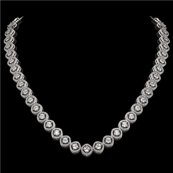 18.43 ctw Cushion Cut Diamond Micro Pave Necklace 18K White Gold - REF-1605K8Y