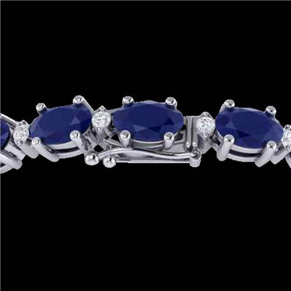23.5 ctw Sapphire & VS/SI Diamond Eternity Bracelet 10k White Gold - REF-143F6M
