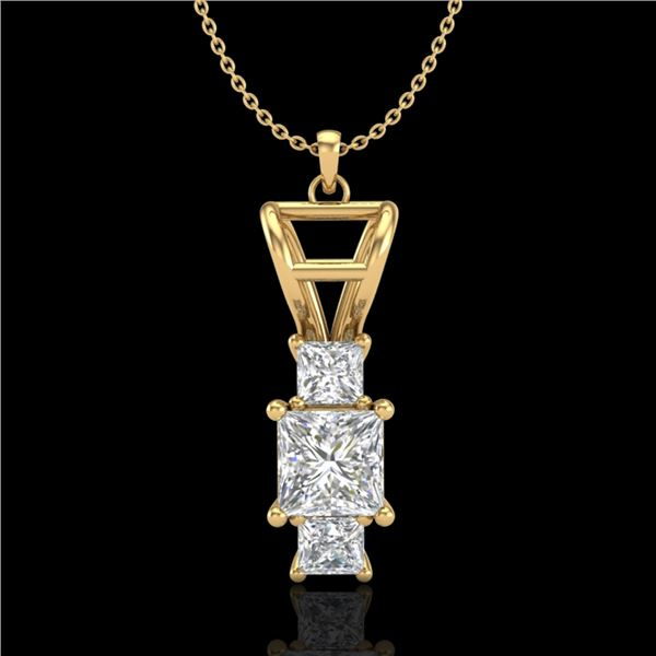 1.54 ctw Princess VS/SI Diamond Art Deco Necklace 18k Yellow Gold - REF-418G2W