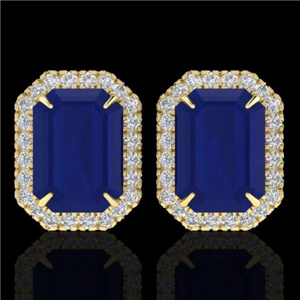 14 ctw Sapphire & Micro Pave VS/SI Diamond Earrings 18k Yellow Gold - REF-136K4Y