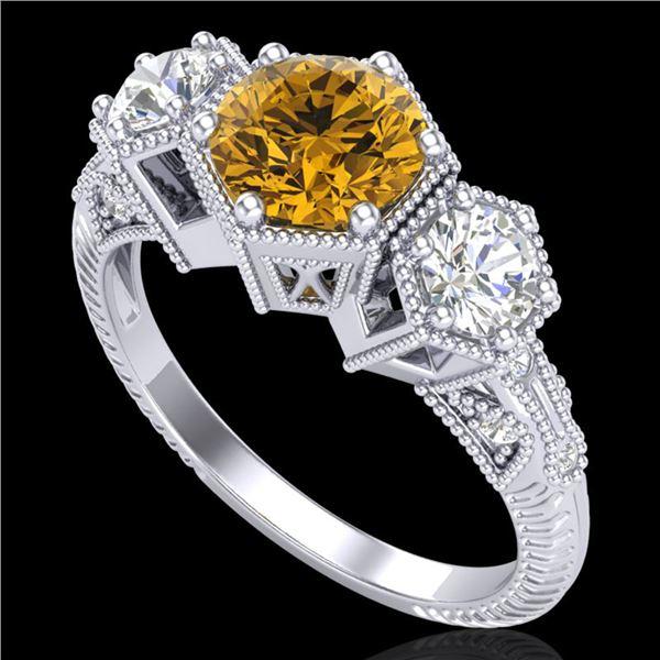 1.66 ctw Intense Fancy Yellow Diamond Art Deco Ring 18k White Gold - REF-338K2Y