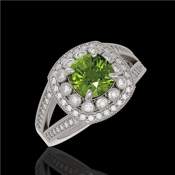 2.39 ctw Certified Tourmaline & Diamond Victorian Ring 14K White Gold - REF-106H5R