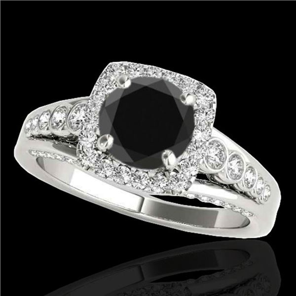 2 ctw Certified VS Black Diamond Solitaire Halo Ring 10k White Gold - REF-79K3Y