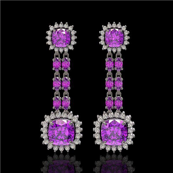 18.96 ctw Amethyst & Diamond Earrings 14K White Gold - REF-222W2H