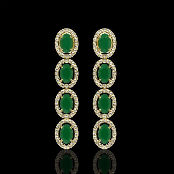 6.47 ctw Emerald & Diamond Micro Pave Halo Earrings 10k Yellow Gold - REF-143M6G