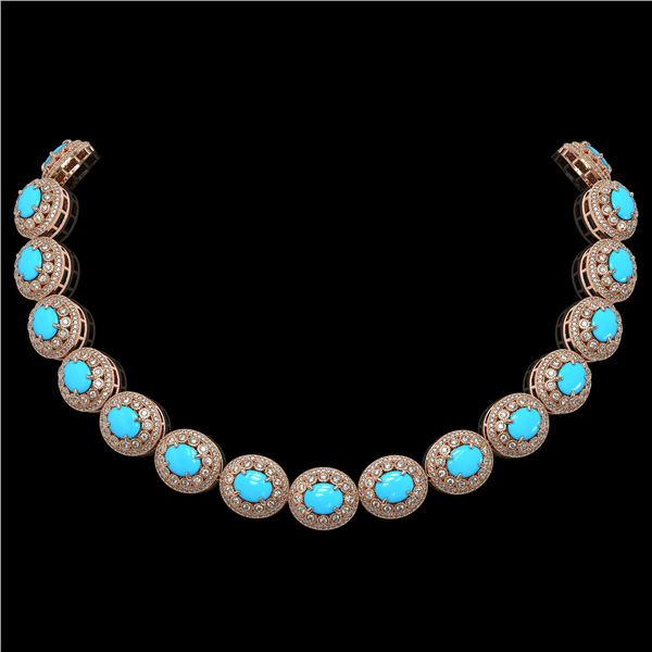 86.75 ctw Turquoise & Diamond Victorian Necklace 14K Rose Gold - REF-2583G6W