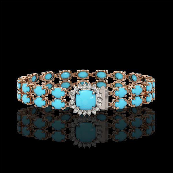 13.37 ctw Turquoise & Diamond Bracelet 14K Rose Gold - REF-245G5W