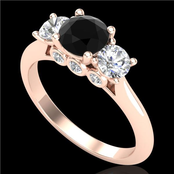 1.5 ctw Fancy Black Diamond Art Deco 3 Stone Ring 18k Rose Gold - REF-136R4K