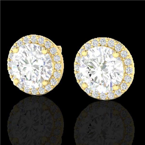 3.50 ctw Halo VS/SI Diamond Micro Pave Earrings 18k Yellow Gold - REF-834Y5X