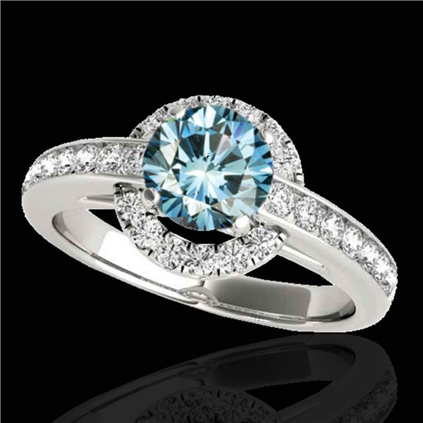 1.5 ctw SI Certified Fancy Blue Diamond Solitaire Halo Ring 10k White Gold - REF-135N2F