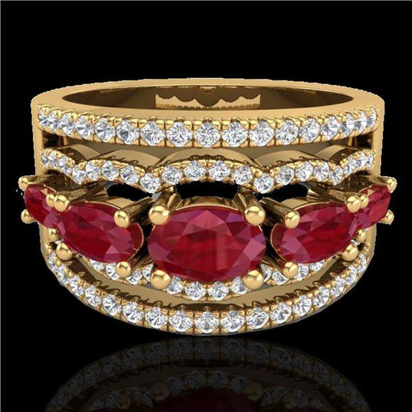 2.25 ctw Ruby & Micro Pave VS/SI Diamond Designer Ring 10k Yellow Gold - REF-81Y8X