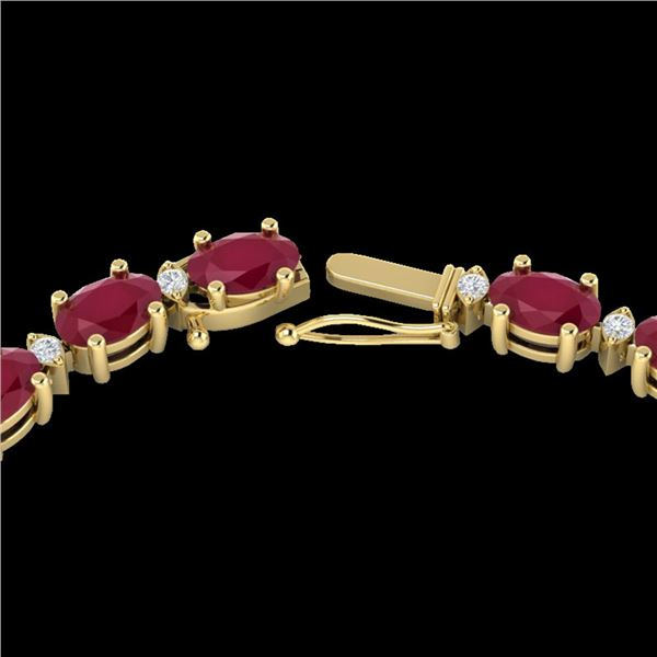 71.85 ctw Ruby & VS/SI Certified Diamond Eternity Necklace 10k Yellow Gold - REF-563F6M