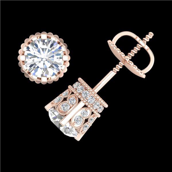 3 ctw VS/SI Diamond Art Deco Stud Earrings 18k Rose Gold - REF-584H3R
