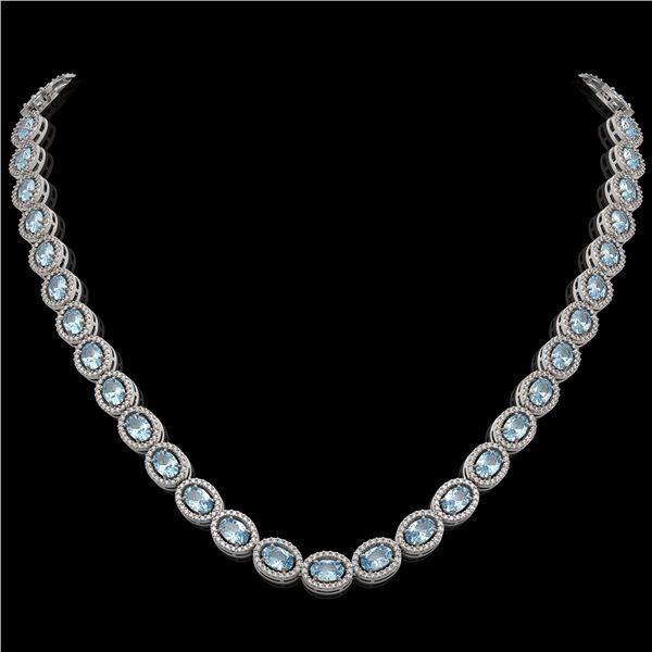 24.65 ctw Aquamarine & Diamond Micro Pave Halo Necklace 10k White Gold - REF-600K2Y