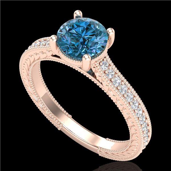 1.45 ctw Fancy Intense Blue Diamond Art Deco Ring 18k Rose Gold - REF-178N2F