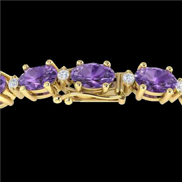 19.7 ctw Amethyst & VS/SI Diamond Eternity Bracelet 10k Yellow Gold - REF-104G2W