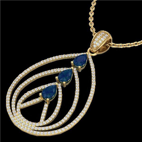 2 ctw Sapphire & Micro Pave VS/SI Diamond Necklace 18k Yellow Gold - REF-163X6A