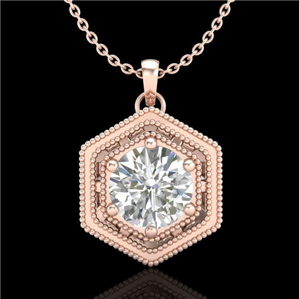 0.76 ctw VS/SI Diamond Solitaire Art Deco Stud Necklace 18k Rose Gold - REF-178N2F