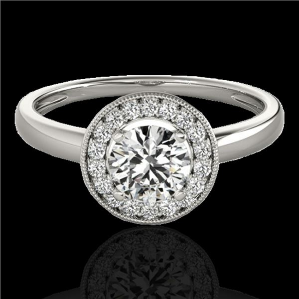 1.15 ctw Certified Diamond Solitaire Halo Ring 10k White Gold - REF-184A3N