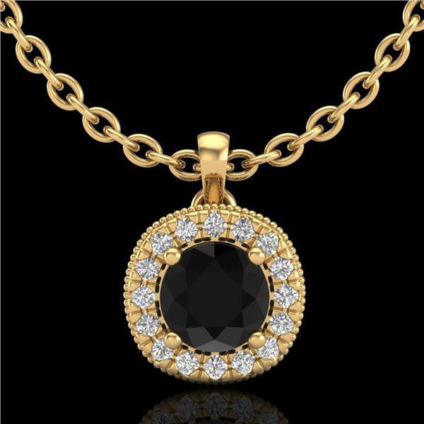1.1 ctw Fancy Black Diamond Art Deco Stud Necklace 18k Yellow Gold - REF-79K3Y