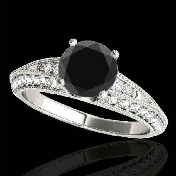 1.58 ctw Certified VS Black Diamond Solitaire Antique Ring 10k White Gold - REF-59F3M