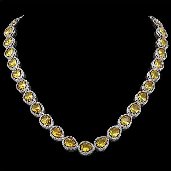 36.8 ctw Fancy Citrine & Diamond Micro Pave Halo Necklace 10k White Gold - REF-604R2K