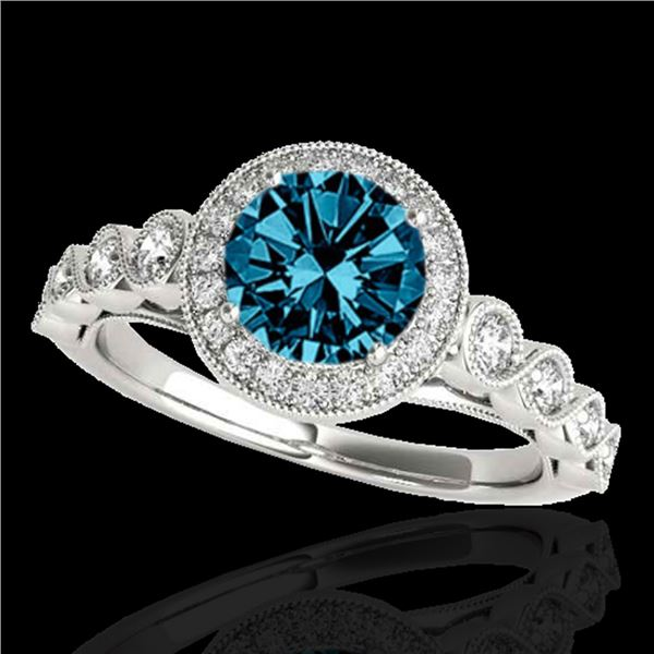 1.50 ctw SI Certified Fancy Blue Diamond Solitaire Halo Ring 10k White Gold - REF-133H6R
