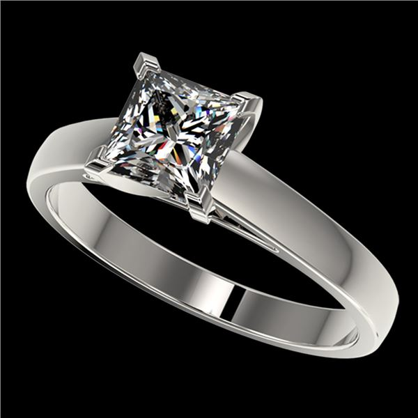 1.25 ctw Certified VS/SI Quality Princess Diamond Ring 10k White Gold - REF-304H6R