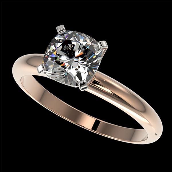 1.25 ctw Certified VS/SI Quality Cushion Cut Diamond Ring 10k Rose Gold - REF-304M6G