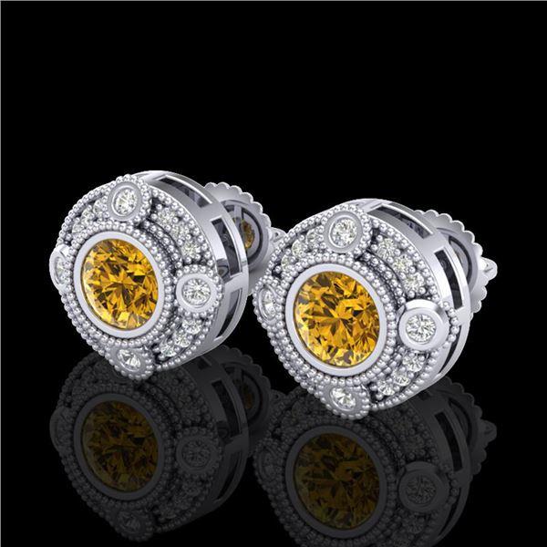 1.5 ctw Intense Fancy Yellow Diamond Art Deco Earrings 18k White Gold - REF-245A5N