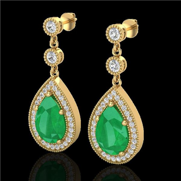 6 ctw Emerald & Micro Pave VS/SI Diamond Earrings 18k Yellow Gold - REF-93X8A