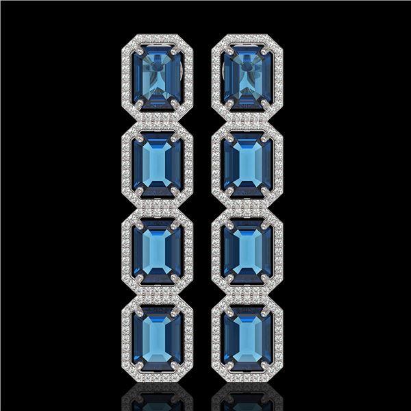 18.99 ctw London Topaz & Diamond Micro Pave Halo Earrings 10k White Gold - REF-184H4R