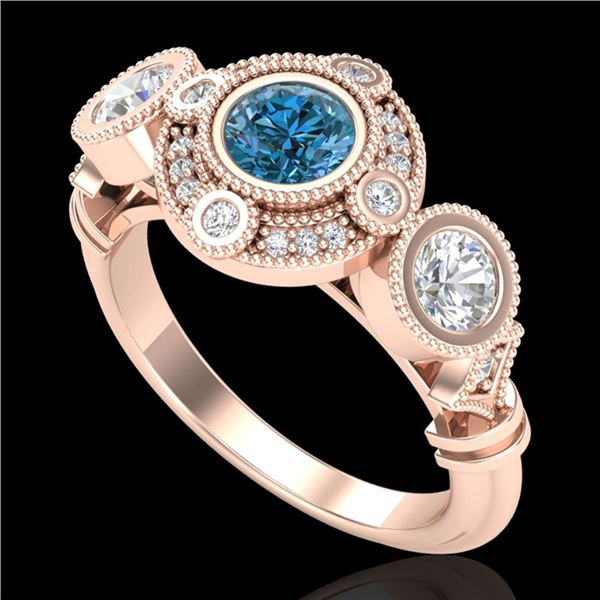 1.51 ctw Intense Blue Diamond Art Deco 3 Stone Ring 18k Rose Gold - REF-218W2H