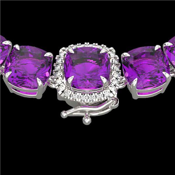 116 ctw Amethyst & VS/SI Diamond Micro Necklace 14k White Gold - REF-350Y2X