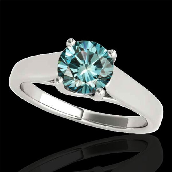 1 ctw SI Certified Fancy Blue Diamond Solitaire Ring 10k White Gold - REF-103G6W