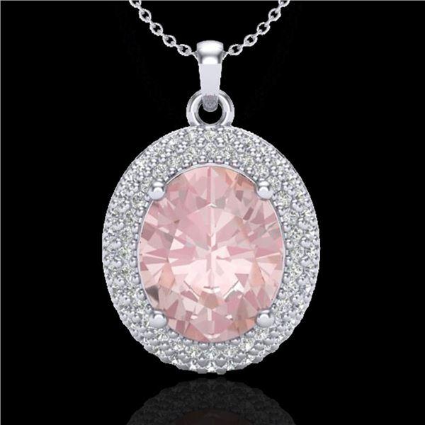 4.50 ctw Morganite & Micro Pave VS/SI Diamond Necklace 18k White Gold - REF-157Y6X