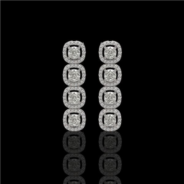 3.84 ctw Cushion Cut Diamond Micro Pave Earrings 18K White Gold - REF-337W5H